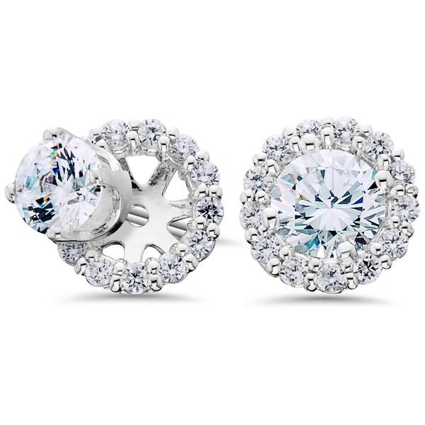 14K White Gold 1 1/2CT TDW Halo Diamond Studs & Earring Jackets (I-J, I1-I2)