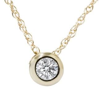 14K Yellow Gold 1/ 3CT TDW Genuine Diamond Round Brilliant Cut Solitaire Pendant (I-J, I2-I3)