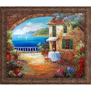 Cafe At Oceanside' Hand Painted Framed Canvas Art