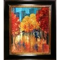 Justyna Kopania 'Autumn' (Umbrellas) Hand Painted Framed Canvas Art