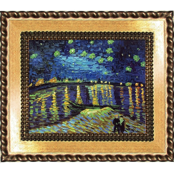 Vincent Van Gogh 'Starry Night Over The Rhone' Hand Painted Framed Canvas Art