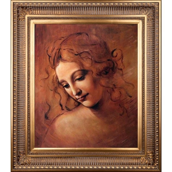 Leonardo Da Vinci 'Female Head' (La Scapigliata) Hand Painted Framed Canvas Art