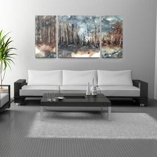 Tina Epps 'Steel Trees' 30x60 Triptych Canvas Wall Art