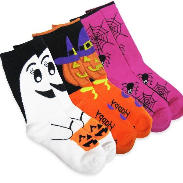 Halloween Socks Women's Crew 3 Pairs Combined Socks Spider Web, Pumpkin, Ghost