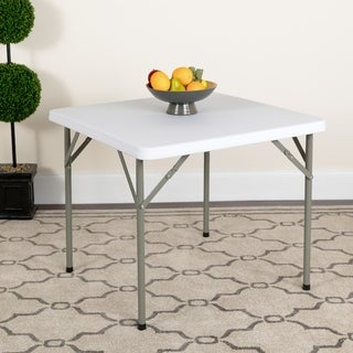34-inch Square Granite White Plastic Folding Table