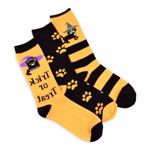 Halloween Socks - Cat Ladies 3-pair Pack Women's Crew Socks