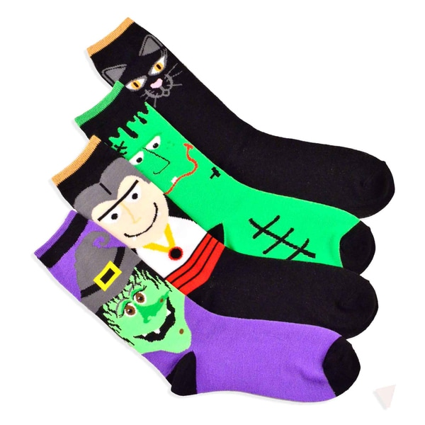 Halloween Socks - Monster and Cat Faces 4-pair Pack Women's Crew Socks