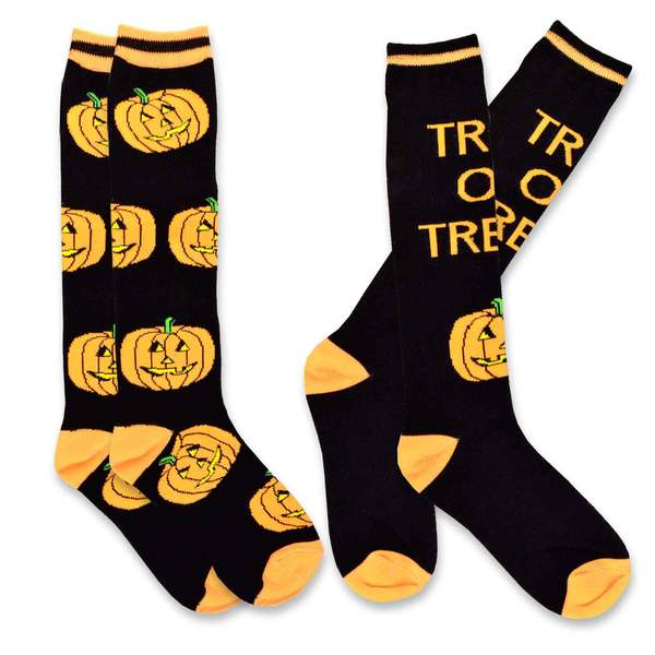 Women's Pumpkin Trick or Treat Knee High Halloween Socks (Set of 2)