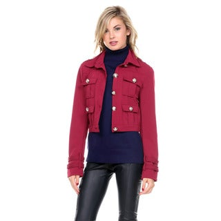 Stanzino Women's Long Sleeve Cropped Military Bolero Jacket