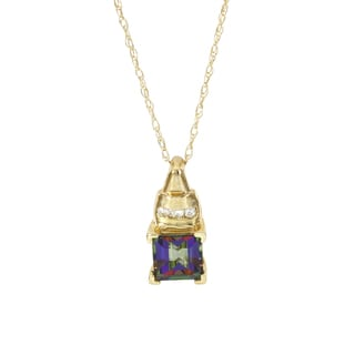 H Star 10k Yellow Gold Mystic Fire Topaz Diamond Accent Necklace