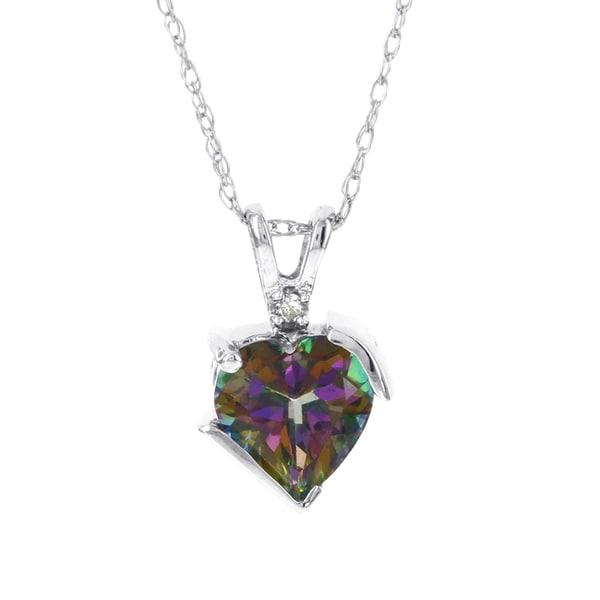 H Star 10k White Gold Mystic Fire Topaz Diamond Accent Necklace 16380906
