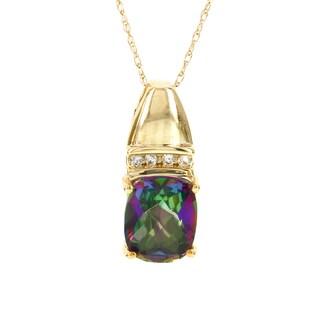 H Star 10k Yellow Gold Mystic Fire Cushion-cut Topaz Diamond Accent Necklace