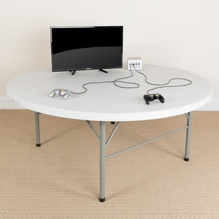 72-inch Round Bi-fold White Table