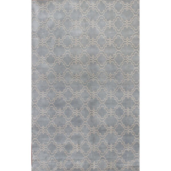 ABC Accents Scroll Tile Porcelain Blue Wool Rug