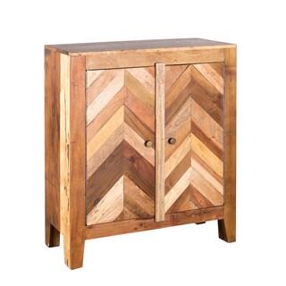 Reclaimed Wood Plank Inlay 2-door Cabinet