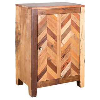 Reclaimed Wood Plank Inlay Single Door Cabinet