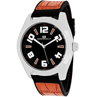 Oceanaut Men's OC7514 Vault Round Orange Leather and Silicone Strap Watch