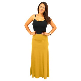 Women's Fold over Waist Warm Colors Solid Maxi Skirt