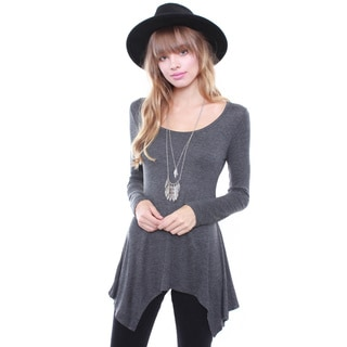 Junior's Grey Tunic Trapeze Top RT8946