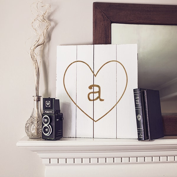 Personalized White Rustic Heart Wooden Wall Art