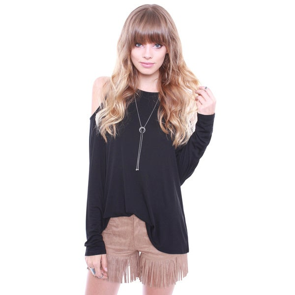 Junior's Black Casual Chic Cold Shoulder Long Sleeve Top T2044