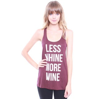 Junior's Less Whine More Wine Graphic Tank Top T2189