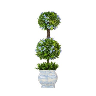 Boxwood Double Ball Topiary with Blue Gypso Accents