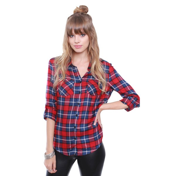 Junior's Red Flannel Blouse TT303X