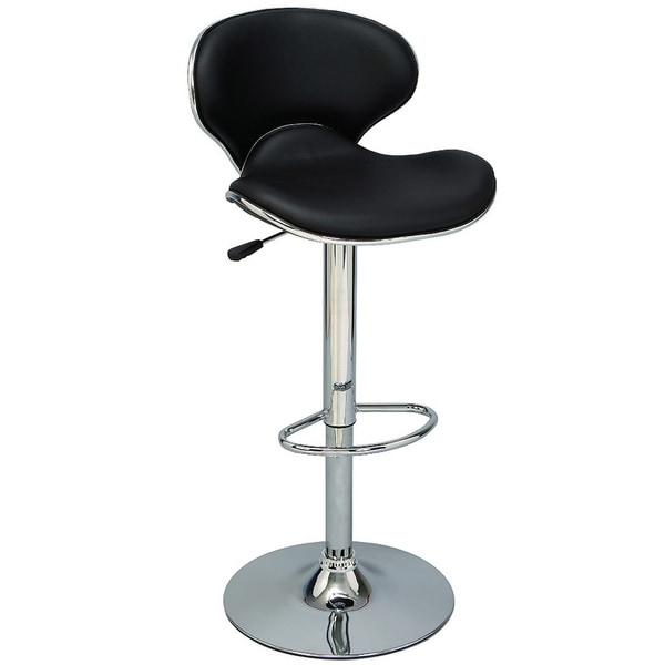 Chrome and Black Adjustable Height Swivel Bar Stool (Set of 2)