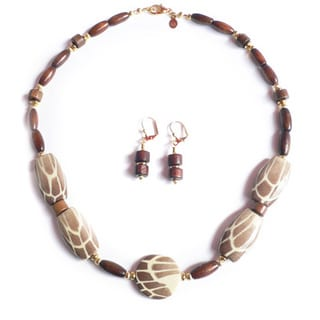 "Palmtree Gems ""Wood Nymph"" Necklace and Dangle Earring Set"