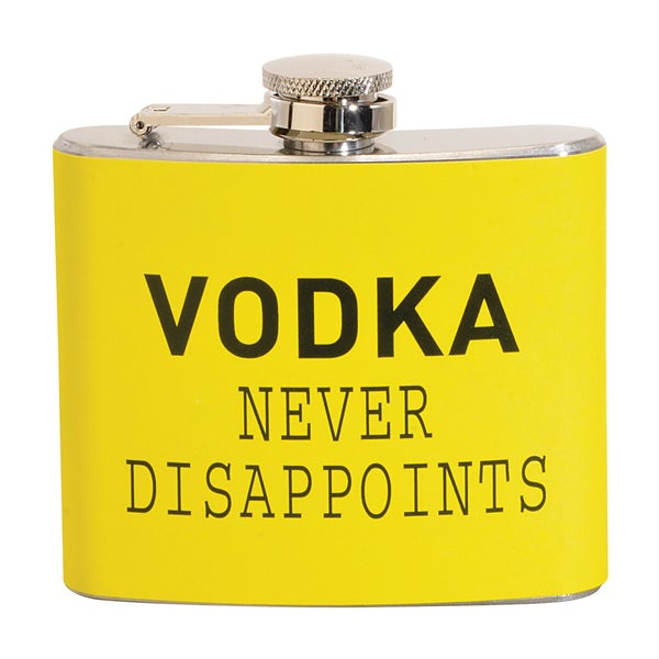 Vodka Never Disappoints Fun 5-ounce Yellow Party Flask
