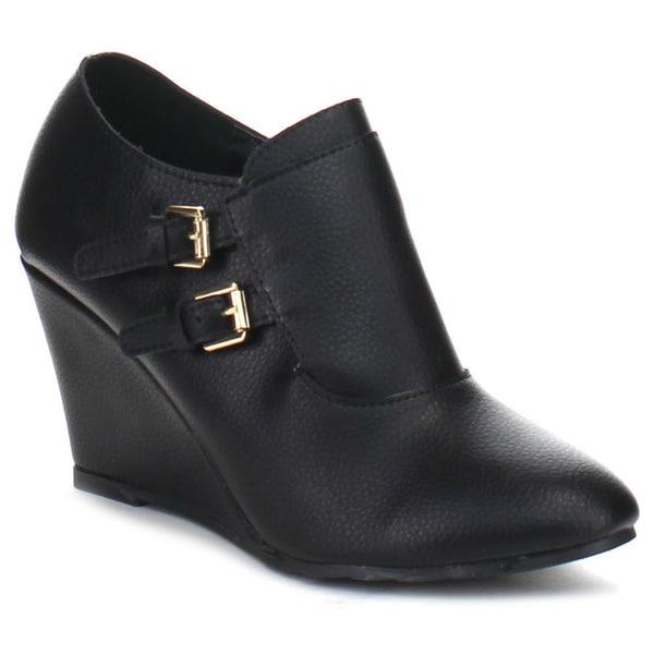 BELLA MARIE SAHARA-27 Women's Double Buckle Strap Comfort Wedge Ankle Booties