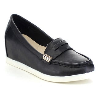 BELLA MARIE LIMA-5 Women's Fashion Moccasin Slip On Hidden Wedge Casual Shoes