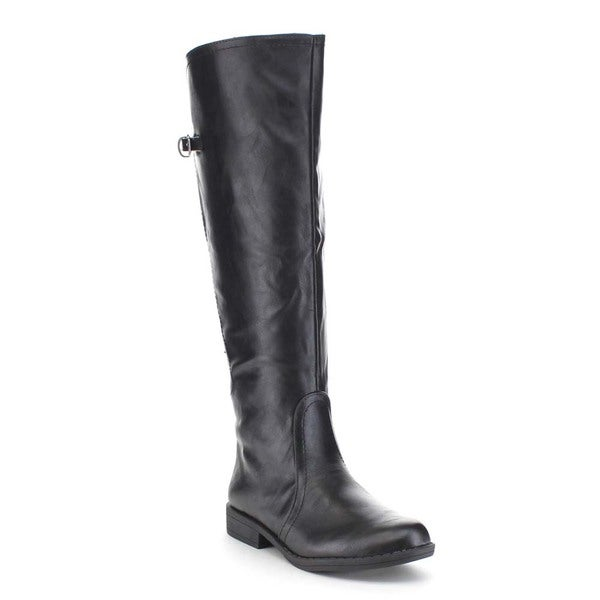 Beston Women's Buckle Detail Elastic Back Knee High Riding Boots (As Is Item)