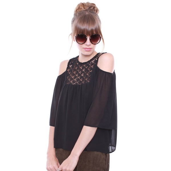 Junior's Black Crochet Top Cold Shoulder Blouse HMT50023