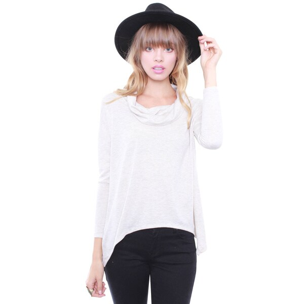 Junior's Long Sleeve Loose Turtle Neck Top HT15331