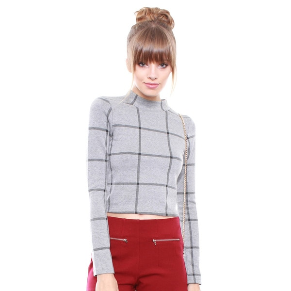 Junior's Grey Plaid Crop Top IT6976-XL1