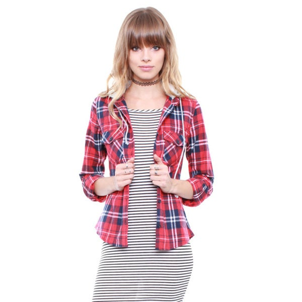 Junior's Red Plaid Flannel Top With Adjustable Hoodie L22037TH