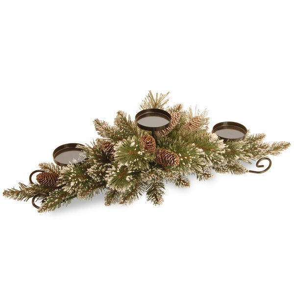 "30"" Glittery Bristle Pine Centerpiece and Candle Holder 16382069"