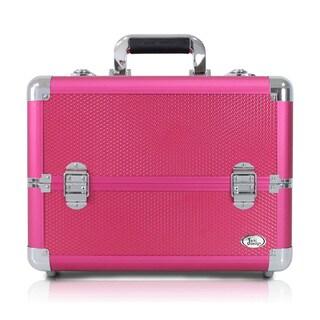 Jacki Design Carrying Aluminum Makeup/ Salon Train Case with Expandable Trays ( Hot Pink)
