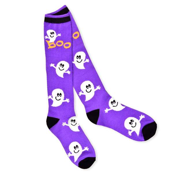 Halloween Women's Purple Ghost Crew Knee High Sock Single Pair (11246-P08A)