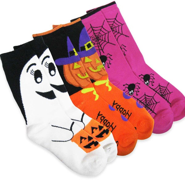 Women's Halloween Spider Web, Pumpkin, Ghost Crew Socks 3 Pairs