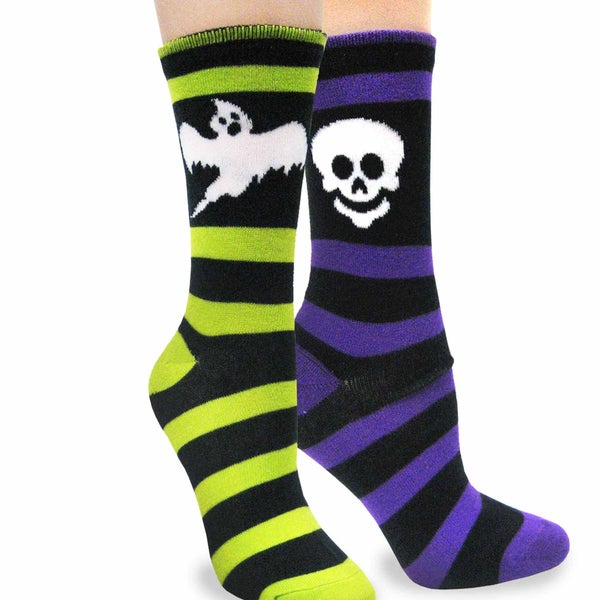 Women's Halloween Rugby Ghost, Rugby Skeleton Crew Socks 2 Pack