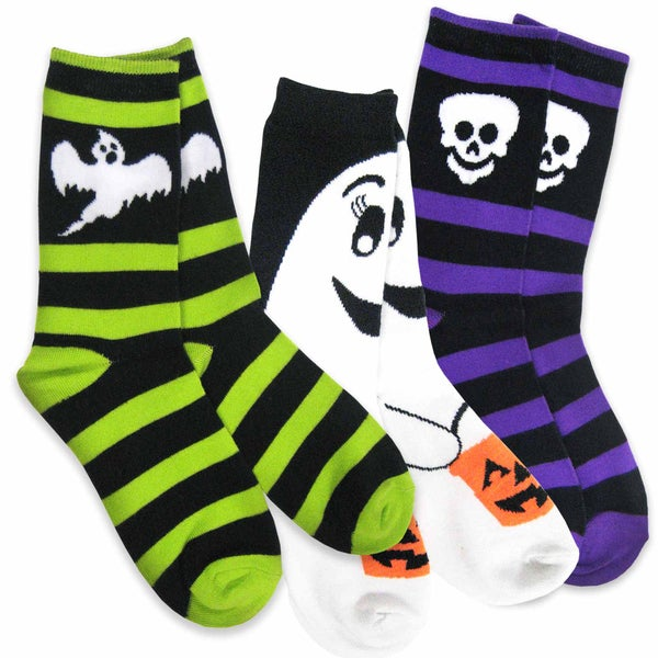 Women's Halloween Rugby Ghost, Skeleton, Trick or Treat Ghost Crew Socks 3-Pack
