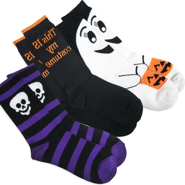 Women's Halloween Ghost, Skeleton, My Costume Crew Socks 3-pair costumes