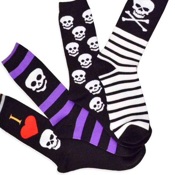 Women's Halloween I Love Skull Crew Socks 4-Pack