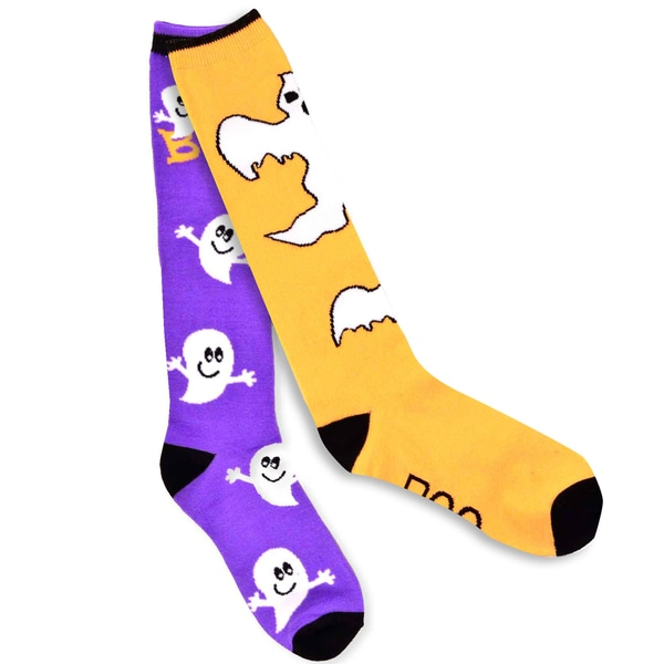 Women's Halloween Boo Ghost Knee-High Socks 2-Pack