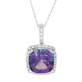 H Star 10k White Gold 1/6ct TDW Diamond and Exotic Purple Topaz Pendant