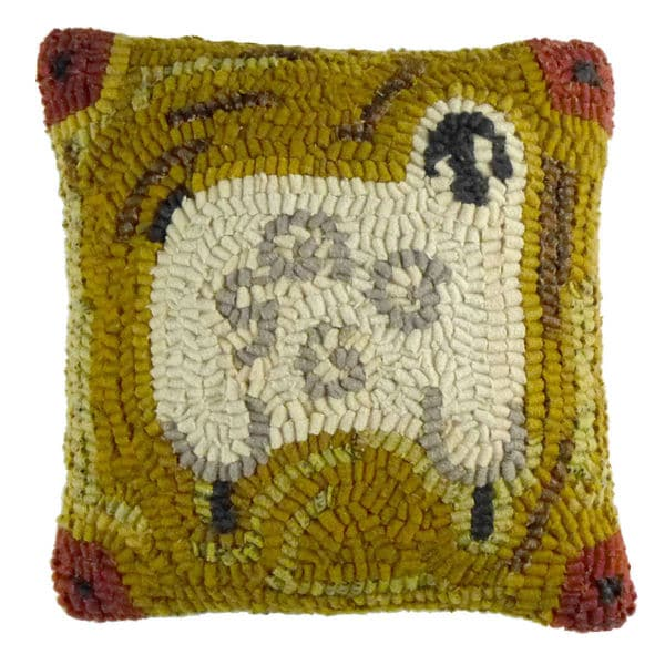 Primitive Sheep 12-Inch Hooked Wool Throw Pillow