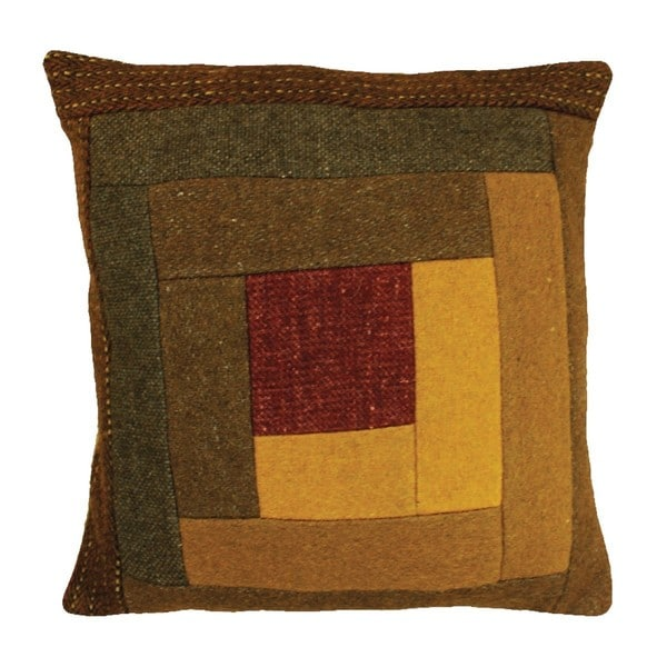 Log Cabin 12-Inch Applique Wool Throw Pillow